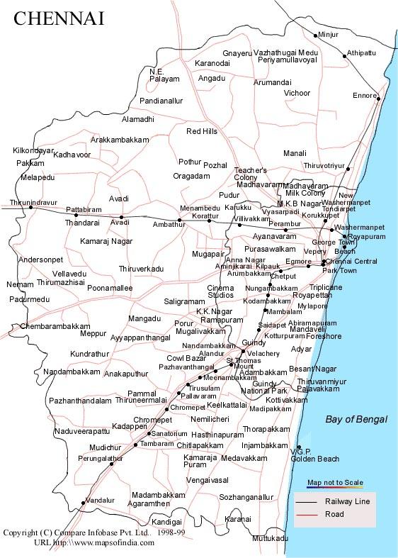 Chennai Map Chennai City Map Chennaiepagescom
