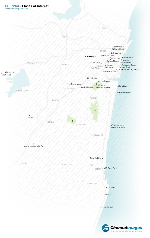 Tourism map of Chennai chennai tourist places map Chennai Tourism map