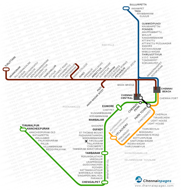 Chennai Local Train Map Train Route Chennai, Chennai suburban railway, Suburban electric  Chennai Local Train Map